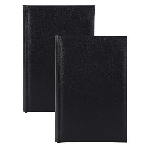 DesignOvation Madelyn Faux Leather Black Photo Album, Holds 300 4x6 Photos, Set of 2