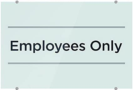 27x18 CGSignLab Employees Only Classic Navy Premium Acrylic Sign