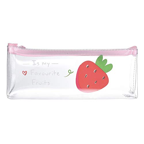 Cute Plastic Pencil Case Pencil Pouch Pink Clear Transparent Jelly Cosmetic Make Up Organizer Pencil Bags School Stationery Supplies for Grils (B)
