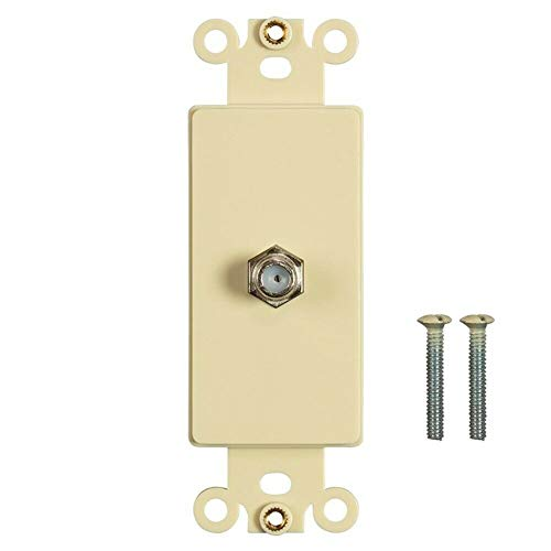 yan 1 Port F Type Coax Cable TV Antenna Coupler Decora Wall Plate Insert Ivory