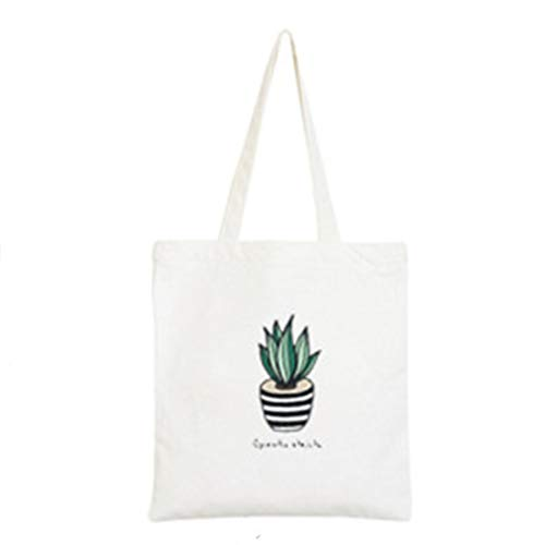 Cactus Cacti Chic Stylish Zippered White Canvas Travel Shopping School Student Work Weekend Tote Bag (13