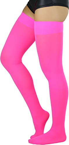 ToBeInStyle Women's Opaque Nylon Thigh Highs - Neon