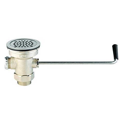 "T&S Brass B-3950 Twist Waste Drain Valve with Drain Adapter. Chrome Rotary Waste Valve for 3.5"" Sink Opening."