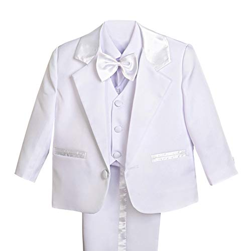 Dressy Daisy Baby Boy' 5 Pcs Set Formal Tuxedo Suits No Tail Wedding Christening Outfits Size 3 Months White -
