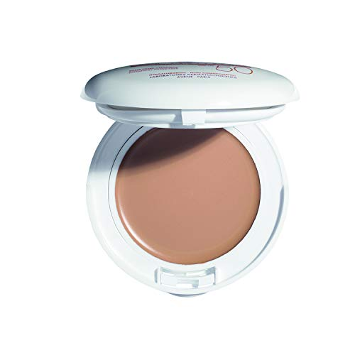 Eau Thermale Avene High Protection Beige Tinted Compact, Broad Spectrum SPF 50+, UVA/UVB Blue Light Protection, Water Resistant, Non-Greasy, 0.35 oz. (Uva High Protection)
