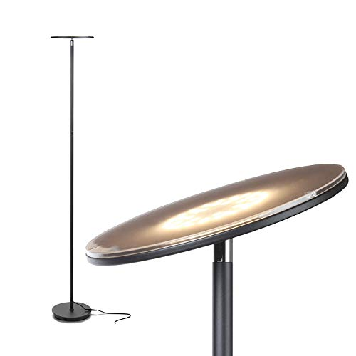Brightech Sky Flux – Modern LED Torchiere Floor Lamp for Living Rooms Bedrooms – Tall Pole, Standing Office Torch Lamp – Bright, Minimalist Contemporary – Dimmable Adjustable Light – Black