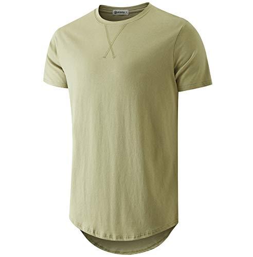 KLIEGOU Mens 100% Cotton Hipster Hip Hop Longline Crewneck T-Shirt ArmyGreen XL(66)