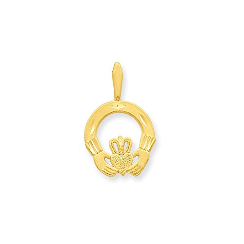 14k Gold Claddagh Charm Pendant (0.87 in x 0.55 in)