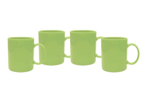 Culver 11-Ounce Hampton Ceramic Mug, Lime, Set of 4 Lime Green Mug