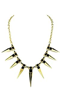 Hipster Women's Gold Plated Dramatic Spikes Necklace