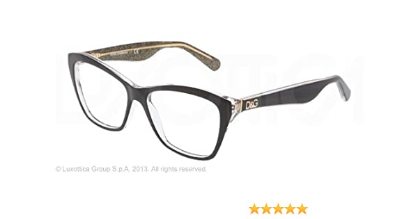 0da53df177 Amazon.com  Dolce   Gabbana DG3167 Eyeglasses-2737 Black Glitter Gold-54mm   Shoes