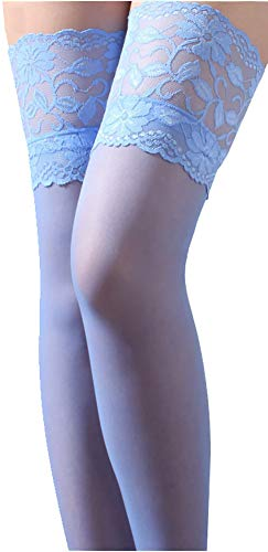 que Lace Top Stockings Sheer Nylon Pantyhose Skyblue ()