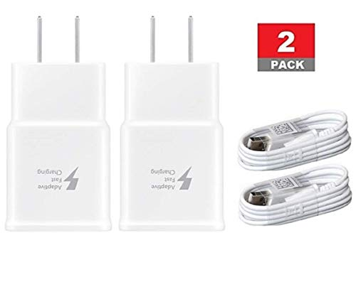 (Samsung 2 Pack Fast Charging Adapter Travel Charger + (2) Micro USB Data Cables - White)