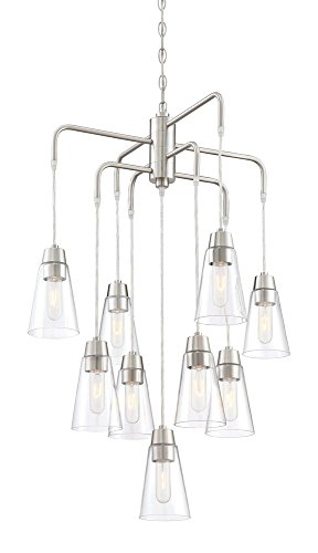 Designers Fountain 87889-SP Echo - Nine Light 5-Tier Chandelier, Satin Platinum Finish with Clear (Satin Platinum Finish)