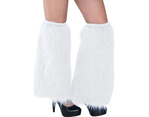 AMSCAN White Furry Leg Warmers Halloween Costume Accessories, One Size -