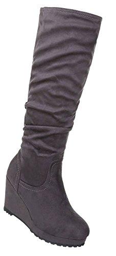 Damen Schuhe Stiefel Keil Wedges Plateau Grau