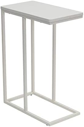 Household Essentials White Industrial Narrow End Table | Metal C Shaped Frame and Rectangle Wood Top