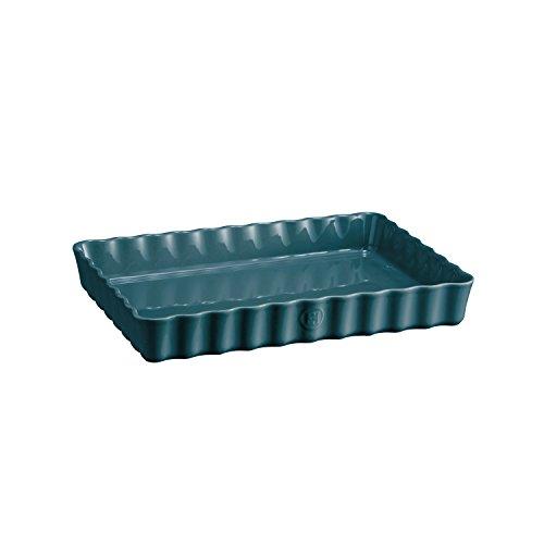 Emile Henry 976038 Deep Rectangle Tart Dish, 2 quart, Blue Flame