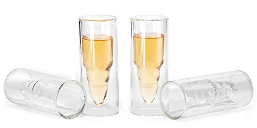 50 Caliber Bullet Shaped Shot Glasses (Set of 4) By The Wine Savant. Cocktail Drinking Glassware, Can Also Be Used as Shot Glass for: Beer,Wine, Coffee, Juice, Or Any Drink