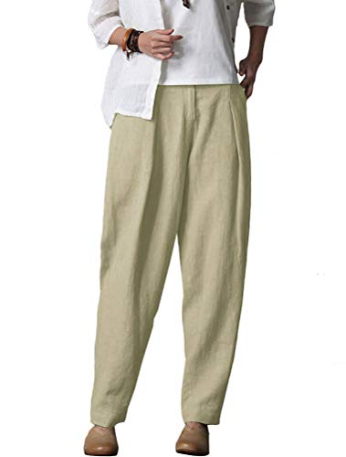 (Minibee Women's Casual Linen Pants Elastic Waist Tapered Pants Trousers With Pockets Linen M)