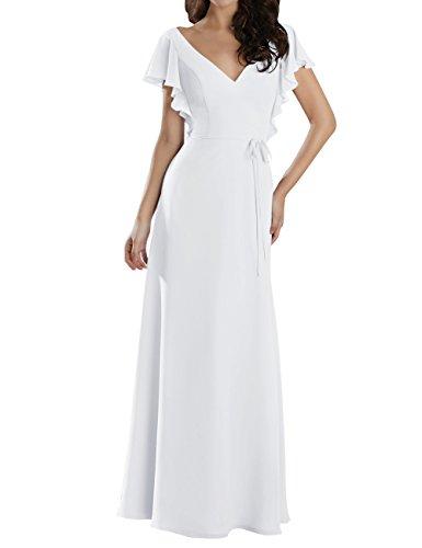 Robes De Demoiselle D'honneur Robes De Bal Du Soir Mancherons Longue En Mousseline Blanche Plissée Col En V