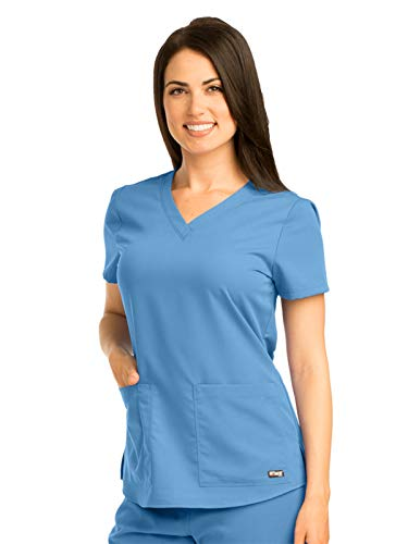 Grey's Anatomy Women's Two Pocket V-Neck Scrub Top with Shirring Back, Ciel Blue, -