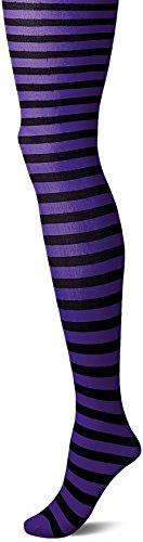 Leg Avenue Women's Nylon Striped Tights, Black/Purple 3X-4X -