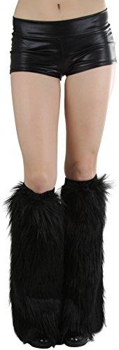 ToBeInStyle Women's Faux Fur Knee Hi Leg Warmer (Black) ()