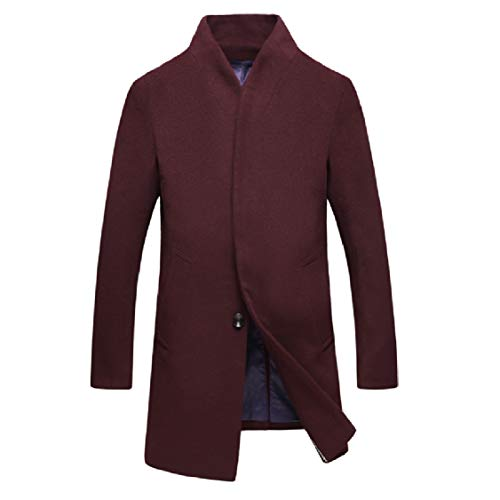 Energy Men's Stand Collar Mid Length Solid Plus Size Parka Outwear Cardigan Red Wine