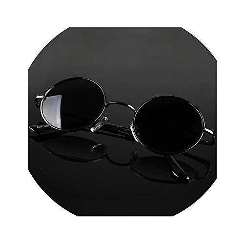 Retro Classic Vintage Round Polarized Sunglasses Men Sun Glasses Women Metal Frame Black lens Eyewear Driving,C1 Black,No Box