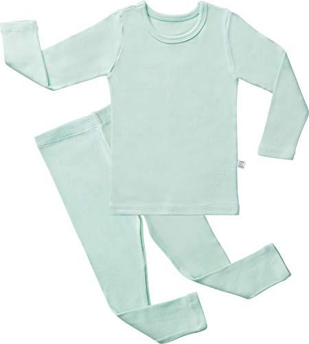 AVAUMA Baby Boys Girls Solid Pring Pj Set Kids Pajamas Long Sleeve Cotton (Mint-1 JM)