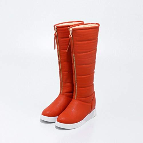 scarpe Stivali Studenti da Neve Passeggio Inverno A Polpaccio Metà Pu Casual Artificiale Alti Antivento scarpe Caldo Hy Neve Stivali Arancia Invernali Da Donna Sci 86nUBqxHd