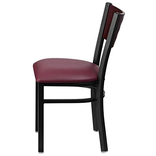 Modern Style Metal Dining Chairs Bar Restaurant Commercial Seats Mahogany Wood Cutout Back Design Black Powder Coated Frame Home Office Furniture - (1) Burgundy Vinyl Seat #2206 by KLS14 (Image #1)