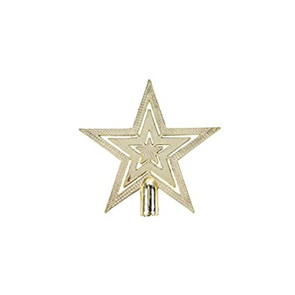 c8f4de2b131c Mini 10cm Gold Shiny Embossed Star Christmas Tree Topper Decoration: Amazon. co.uk: Kitchen & Home