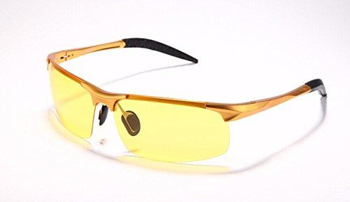 Wonzone Yellow Night Vision Polarized Goggles Sunglasses Unbreakable UV400 Protection Glasses Driving Fishing Golf Outdoor Sport Eyewear for Men (Golden - Golf Eyewear