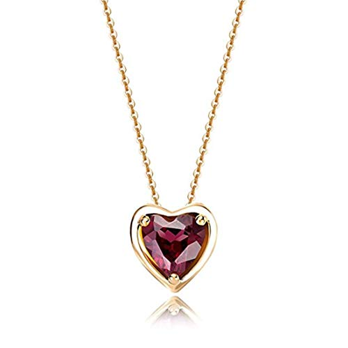 Carleen Solid 14K Yellow Gold Birthday Heart Shape Garent Gemstone Solitaire Birthstone Necklace Pendant Delicate Dainty Fine Jewelry for Women Girl, 16+2 inch (Garnet)