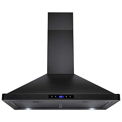 AKDY 30 in. Convertible Kitchen Wall Mount Range Hood in Black Painted Stainless Steel with Lights