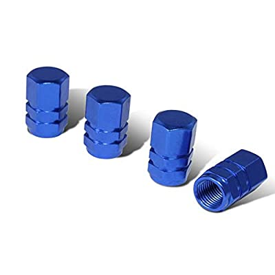 iJDMTOY (4) Tuner Racing Style Blue Aluminum Tire Valve Caps (Hexagon Shape): Automotive
