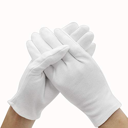 GH 60 Pares de Guantes hidratantes, Guantes de algodón humectantes para Pieles secas duras y agrietadas, Blanco,M