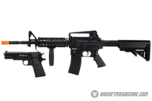 - Sig_Sauer Patrol Kit w/Spring Pistol & M4 AEG Airsoft Rifle [5000 BBS Included] (Black)