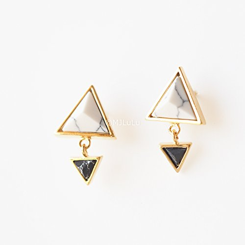 White  Black Howlite Double Triangle Minimal Dangle Stud Earrings