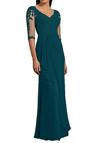 Damen La Festlichkleider Abendkleider Spitze Langarm Dunkel 3 Etuikleider Tuerkis Partykleider 4 Promkleider mia Braut rRqRwCE