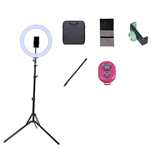 Peaceip US 14in External Dimmable Led Ring Light 60w-5500k Lighting Kit With 2m Light Stand - Mobile Phone Holder - Bluetooth - Carrying Case For Portrait Youtube Video Shooting