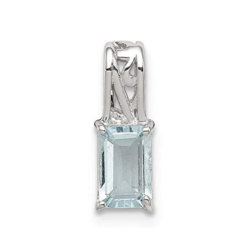 Gold 14kt Aqua Gem Yellow (925 Sterling Silver Blue Aquamarine Rectangle Pendant Charm Necklace Gemstone Fine Jewelry For Women Gift Set)