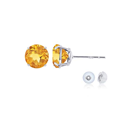Genuine 14K Solid White Gold 6mm Round Natural Citrine November Birthstone Stud Earrings