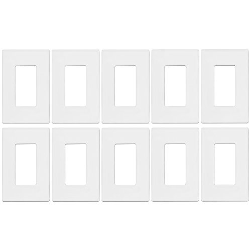 : Screwless Decorator Wall Plate kit by Enerlites SI8831-W-10PCS Child Safe Outlet Cover for Rocker GFCI Light Timer Dimmer Switches, 1-Gang Standard Size, Unbreakable Plastic Material, White (10 Pack)