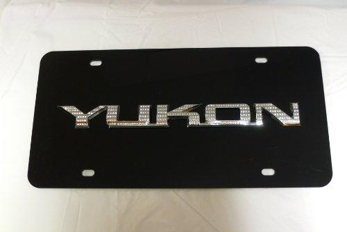 GMC Yukon Black License Plate Tag Chrome Swarovski Iced Out Crystal Emblems