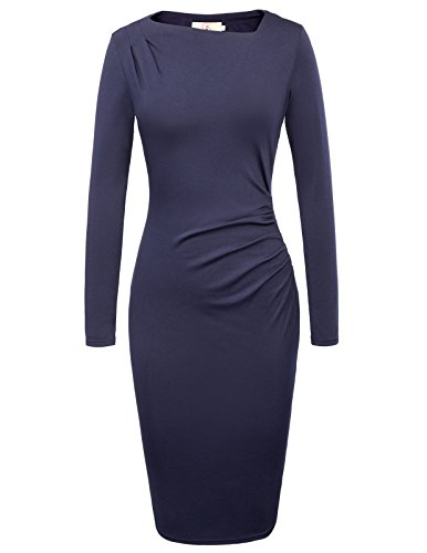 Women's 1950s Vintage Long Sleeve Pleated Pencil Dress Size S Navy - Spandex Blu Gloves