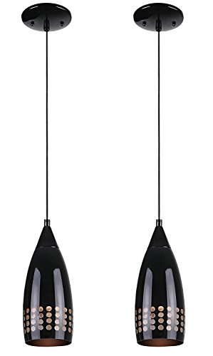 Ciata Lighting Contemporary One-Light Adjustable Mini Pendant with Handblown Black Glass Shade, Black Finish Black 2 Pack