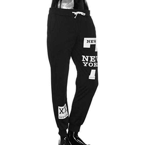 Casual Carta Negro Pantalones Hombres Jogging Ropa Impreso York gqTwx4fB